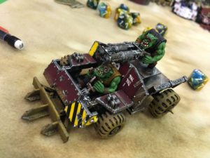 my Ork racer, BlitzKrug, ready to kill it